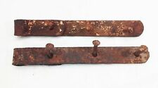 "Vtg antique cast iron forged barn door gate strap hinges 12"" rustic 2 pcs"