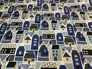 Fryetts Clovelly Navy Coastal Town Cotton Fabric for Curtain/Blinds/Upholstery
