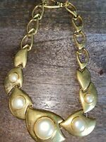 Vintage Napier Antique Gold Tone Faux Pearl Chain Choker Shiny Necklace Estate