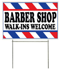 18x12 Inch Barber Shop Walk Ins Welcome Yard Sign With Stake Wb1s
