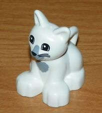 LEGO - Duplo Animal - Cat w/ Wide Eyes, Whiskers & Gray Spot - White