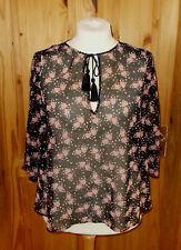 M&S black ivory off-white red floral chiffon 3/4 sleeve tunic top 16 44 tassels
