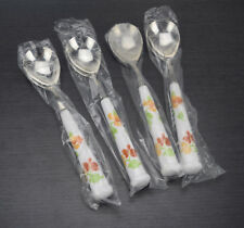 Noritake Happy Days Oval Soup Spoons Set of 4 Floral Ceramic Handle Flatware