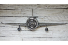 Stunning Large Vintage aeroplane Wall clock Metal Novelty Retro Timepiece 5034