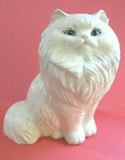 """Vintage White Persian Cat Figurine Statue Blue Eyes Sitting Pose 8"""" tall"""