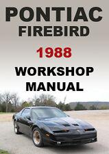 PONTIAC FIREBIRD WORKSHOP MANUAL: 1988