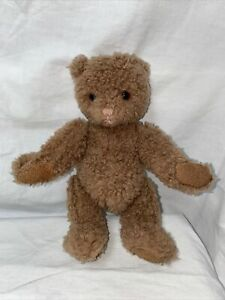 """Vintage stuffed plush little 9"""" Bear Gund 1987 curly brown fur & leather paws"""