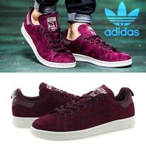 Adidas Originals Stan Smith Maroon Red SUEDE Reflective Heel Shoes S80028 Men 10