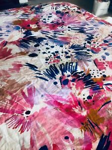Anthropologie Lillian Farag FLORAL full queen cotton duvet white pink floral