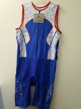 Hillcrusher Mens Red White and Blue Triathlon Singlet Skin Tri Suit Size XL