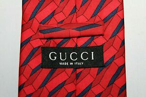 GUCCI Made in Italy Red & Navy 3D 100% Silk Tie