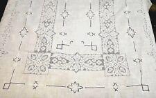 "Italian PUNTO TIRATO Embroidery Linen BANQUET TABLECLOTH 106"" - Vintage FINE"