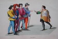 GRAVURE-JUGES DISEURS TOURNOI CHEVALERIE 1 -COSTUMES MOYEN AGE 1847- PRINT