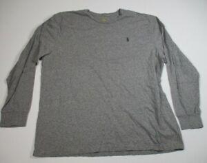 Polo Ralph Lauren Men's Long Sleeve Gray T Shirt XL Green Logo