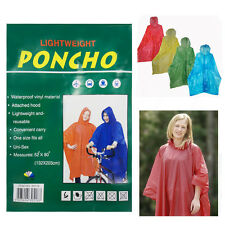 Adult Raincoat Poncho Hooded Unisex Waterproof Vinyl Lightweight One SizeCamping