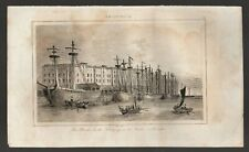 INDIA COMPANY DOCKS LONDON Antique French Plate Print Original 1830´s