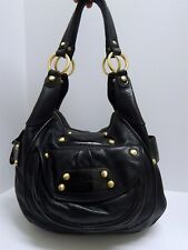 B. Makowsky Black Pebbled Leather Slouch Hobo Shoulder Bag