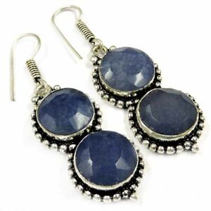 """80.00Cts Natural Blue Sapphire Gemstone Silver Overlay Handmade Earrings 2"""""""
