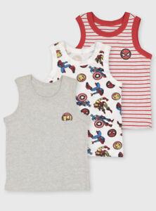 Marvel Avengers TU 3 Pack Boys Vests 2-3 Years New