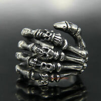 Men's Stainless Steel Ring Skull Skeleton Hand Finger Bone Gothic Vintage Silver
