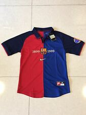 1999-2000 Barcelona 100 Year Anniversary Home Retro Vintage Soccer Jersey M Size