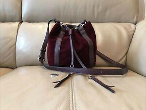 'M&S COLLECTION' BURGUNDY VELVET DRAWSTRING BUCKET BAG LEATHER TRIM
