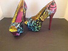 Too Fast Mega Heel Leopard Eye Platform Pink Glitter Heels Size 7
