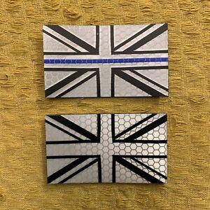 UK Union Jack Thin Blue Line Reflective Mono UJ Morale Patch for UBACS & Bergen