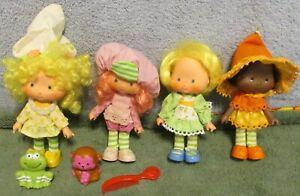 4 Vtg Strawberry Shortcake Dolls~Lemon Meringue~Orange Blossom~Mint Tulip~2 Pets