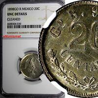 Mexico SECOND REPUBLIC Silver 1898 GO R 20 Centavos NGC UNC DETAILS KM# 405.1