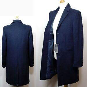 M&S Mens' WOOL Blend TAILORED FIT Revere Collar COAT ~ Size MEDIUM ~ NAVY
