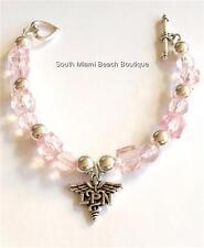Silver Plated Nursing Bracelet Nurse Caduceus LPN Charm Pinkt Graduation Gift