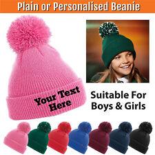 Kids Pom Pom Beanie Personalised Woolly Knit Bobble Hat Stitch Boy Girl Children