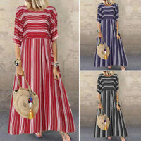 UK Womens Short Sleeve Striped Long Dress Ladies Casual Baggy Maxi Dresses Plus