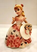 Vintage Lefton china figurine: girl with blonde hair in pink flower dress #2353