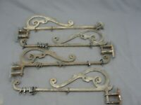 Antique Heavy Cast Iron Drapes Banner Tapestry Hanger Hardware Swing Out 2 Pairs