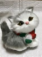 Gray Cat, Kitten Christmas Tree Ornament Faux Fur