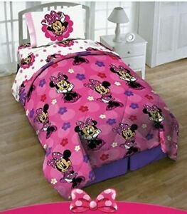 2pcs Disney Minnie Mouse Comforter & Pillow Sham Twin Size Bedding Set