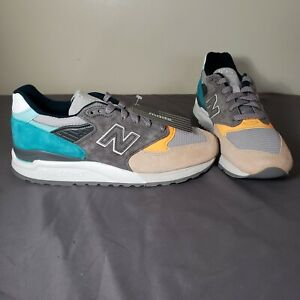 New Balance 998 Made In USA Sand Teal Blue/Orange New Men's Sz 9 M998AWB