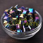 New 10pcs 10mm Cube Square Faceted Crystal Glass Loose Spacer Beads Colorized