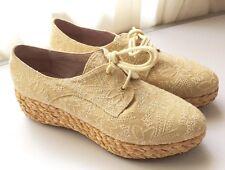Zapatos cuña esparto de piel Veletto artesanal beige nuevos t.40  plataforma