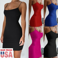 Women Bodycon Mini Dress Spaghetti Strap Sexy Party Club Wear Dresses