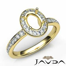 Classic Halo Pave 18k Yellow Gold 0.45Ct Diamond Engagement Oval Semi Mount Ring