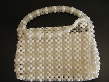 CLEAR AND WHITE LUCITE BEADED VINTAGE PURSE HANDBAG ITALY FLAP ZIPPER TOP HANDLE