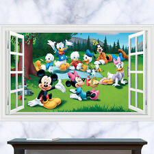 WALL STICKERS 3D Effect Window Mickey Donald Removable Sticker Vinyl Decor Mural