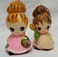 Vintage Josef Originals Figurine Big Eye Girl Lot August July Pink Flowers 60s