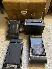 Lot Of Vintage Antique Cameras+Accessories- Kodak, Brownie, WWI/WW2 Leather Case