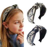 Leopard Snake Print Headband Women Girls Turban Knotted Hairbands Head Hoop