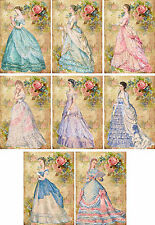 Vintage inspired fashion women ballgowns cards tags scrapbooking crafts set 8