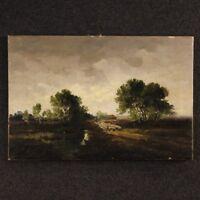 Dipinto quadro paesaggio firmato olio tela stile antico impressionista olandese